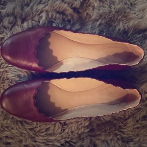 Red Chloe Flats. Good condition.